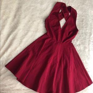Lulu's open back red dress.